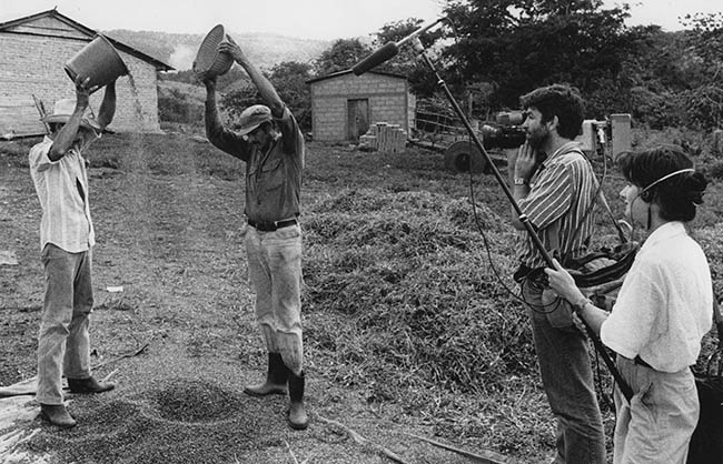 1988 Rob with Filmcrew shooting farmers wih bean harvest in Northern Nicaragua